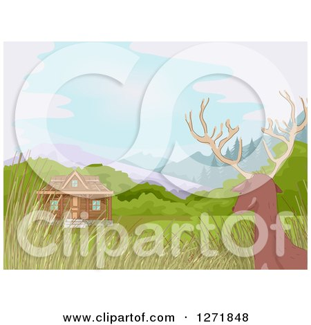 Clipart of a Rear View of a Der Watching a Hunting Cabin - Royalty Free Vector Illustration by BNP Design Studio