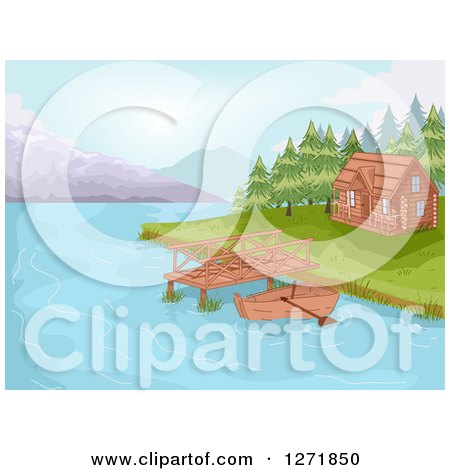 Clipart of a Boat and Dock by a Lakefront Cabin - Royalty Free Vector Illustration by BNP Design Studio