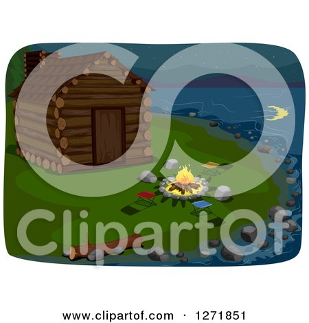 Clipart of a Crescent Moon Reflecting in the Water at a Lakefront Cabin with a Fire - Royalty Free Vector Illustration by BNP Design Studio