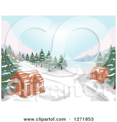 Clipart of a Lake with Evergreens, Snow and Winter Cabins - Royalty Free Vector Illustration by BNP Design Studio