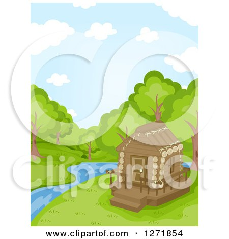 Clipart of a Log Cabin Beside a Stream in the Woods - Royalty Free Vector Illustration by BNP Design Studio