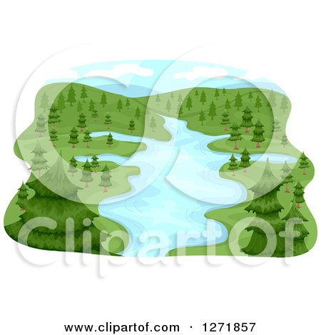 Clipart of a Lush River Basin and Evergreen Trees - Royalty Free Vector Illustration by BNP Design Studio