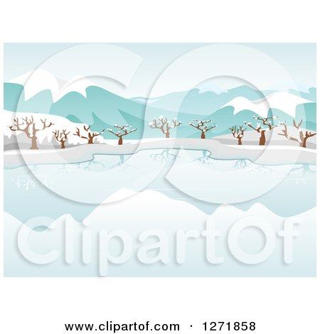 Clipart of a Still Frozen Lake and Bare Trees with Snow and Mountains - Royalty Free Vector Illustration by BNP Design Studio