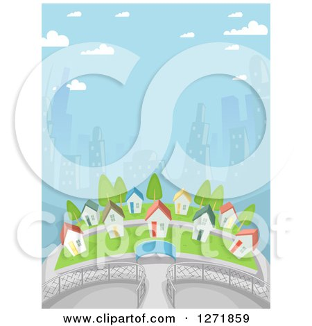Clipart of a Village of Small Homes Against City Skyscrapers - Royalty Free Vector Illustration by BNP Design Studio