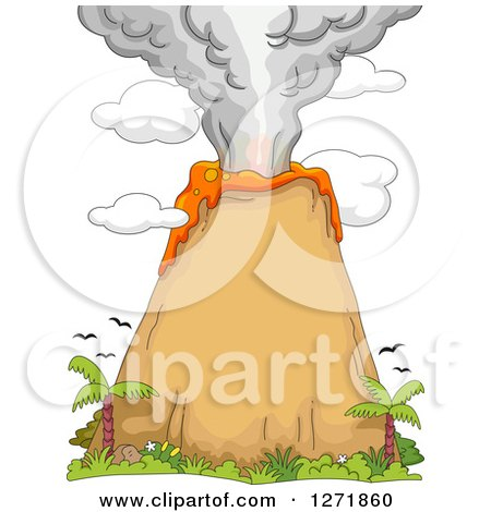 Clipart of a Volcanic Eruption with Birds and Palm Trees - Royalty Free Vector Illustration by BNP Design Studio