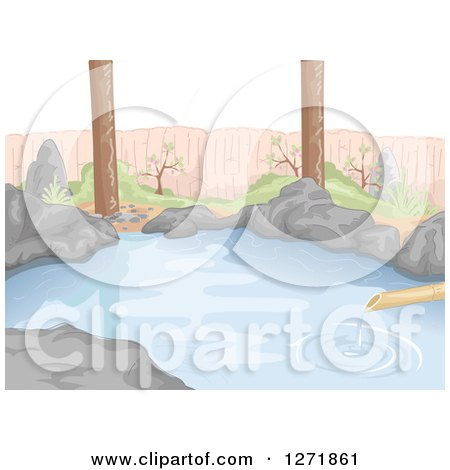 Clipart of a Bamboo Pipe Dripping Water into a Natural Hot Spring - Royalty Free Vector Illustration by BNP Design Studio