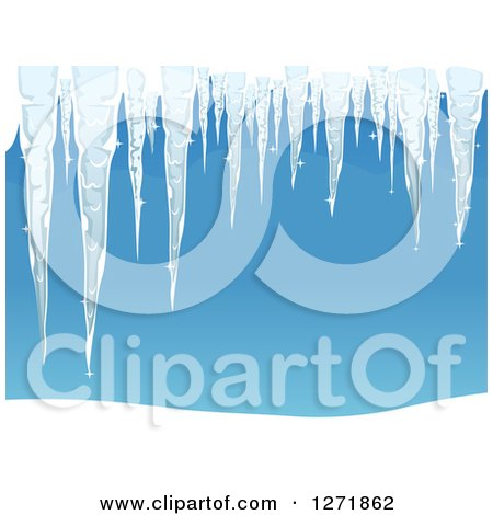 Clipart of Frozen Winter Icicles over Blue - Royalty Free Vector Illustration by BNP Design Studio