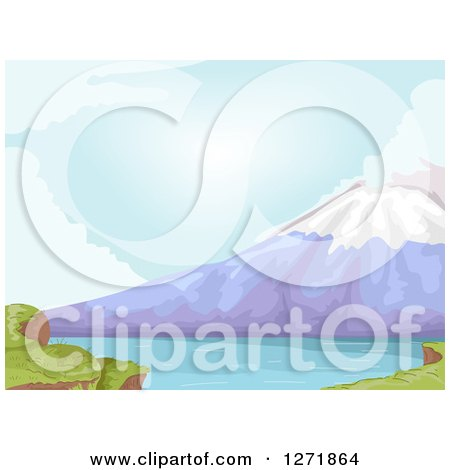 Clipart of a Lake at the Base of Mt Fuji in Japan - Royalty Free Vector Illustration by BNP Design Studio