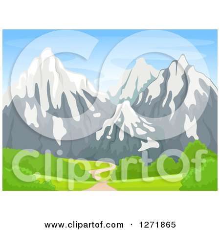 Clipart of a Path Leading to Snow Capped Mountains - Royalty Free Vector Illustration by BNP Design Studio