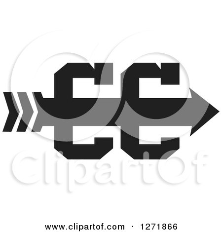 Clipart of a Cross Country Running Arrow Design in Black ...