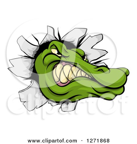 Clipart of a Tough Alligator or Crocodile Head Breaking Through a Wall - Royalty Free Vector Illustration by AtStockIllustration