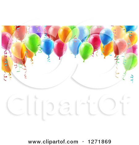 Clipart of a 3d Arch of Colorful Birthday Party Balloons over Text Space - Royalty Free Vector Illustration by AtStockIllustration