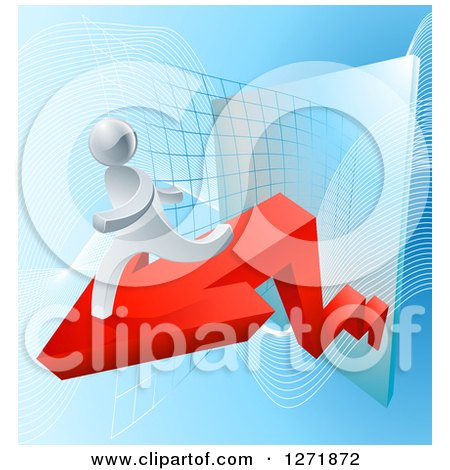 Clipart of a 3d Silver Businessman Running on a Red Arrow off of a Chart - Royalty Free Vector Illustration by AtStockIllustration