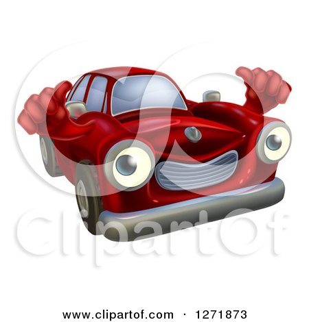 Clipart of a Red Car Holding Two Thumbs up - Royalty Free Vector Illustration by AtStockIllustration