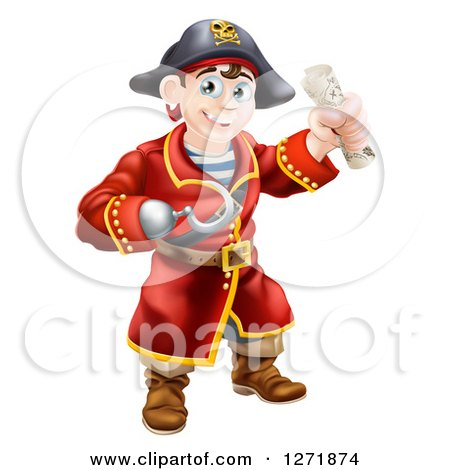 Clipart of a Happy Young Male Pirate Captain with a Hook Hand, Holding a Rolled Treasure Map - Royalty Free Vector Illustration by AtStockIllustration
