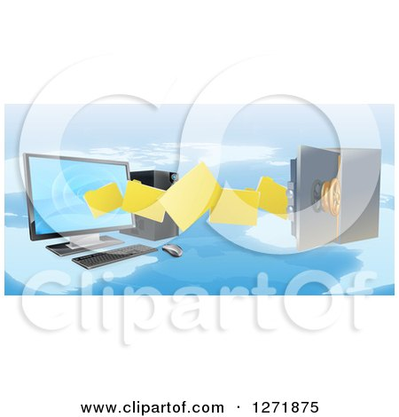 Clipart of a 3d Desktop Computer Moving Files to an Open Vault Safe over a Map - Royalty Free Vector Illustration by AtStockIllustration