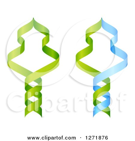 Clipart of a Green and Blue DNA Double Helix Strands Forming Trees - Royalty Free Vector Illustration by AtStockIllustration