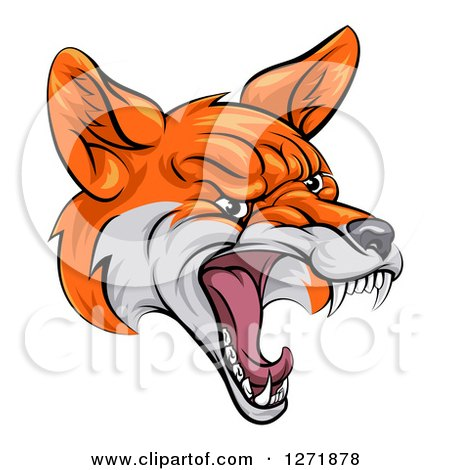 Clipart of a Mad Fox Face - Royalty Free Vector Illustration by AtStockIllustration