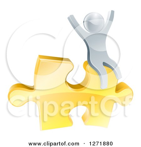 Clipart of a 3d Successful Silver Man Cheering and Sitting on a Golden Puzzle Piece - Royalty Free Vector Illustration by AtStockIllustration