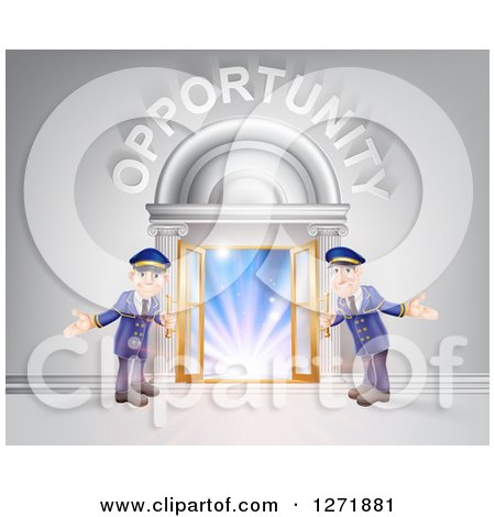 Clipart of a Venue Entrance with Welcoming Doormen and Opportunity Text over Light - Royalty Free Vector Illustration by AtStockIllustration