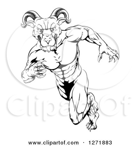 Clipart of a Black and White Clawed Muscular Ram Monster Man Running Upright - Royalty Free Vector Illustration by AtStockIllustration