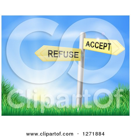 Clipart of 3d Yellow Accept or Refuse Arrow Signs over Grassy Hills and a Sunrise - Royalty Free Vector Illustration by AtStockIllustration