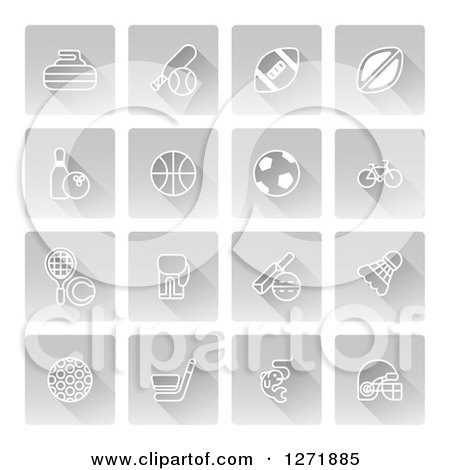 Clipart of White Sports Icons on Gray Square Tiles - Royalty Free Vector Illustration by AtStockIllustration