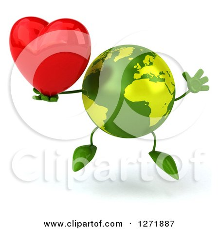 Clipart of a 3d Green Earth Character Jumping and Holding a Heart - Royalty Free Illustration by Julos