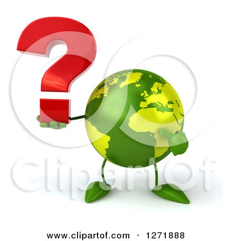 Clipart of a 3d Green Earth Character Holding and Pointing to a Question Mark - Royalty Free Illustration by Julos