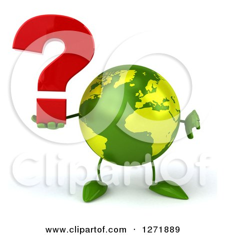 Clipart of a 3d Green Earth Character Holding a Question Mark and Thumb down - Royalty Free Illustration by Julos