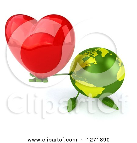 Clipart of a 3d Green Earth Character Holding up a Heart - Royalty Free Illustration by Julos