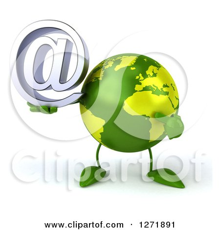 Clipart of a 3d Green Earth Character Holding and Pointing to an Email Arobase Symbol - Royalty Free Illustration by Julos