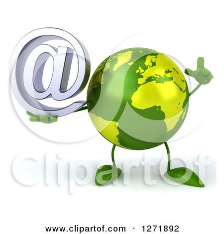 Clipart of a 3d Green Earth Character Holding up a Finger and Email Arobase Symbol - Royalty Free Illustration by Julos