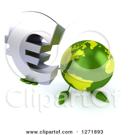 Clipart of a 3d Green Earth Character Holding up a Euro Symbol - Royalty Free Illustration by Julos