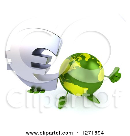 Clipart of a 3d Green Earth Character Holding up a Thumb and Euro Symbol - Royalty Free Illustration by Julos