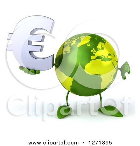 Clipart of a 3d Green Earth Character Holding a Euro Symbol and Thumb down - Royalty Free Illustration by Julos