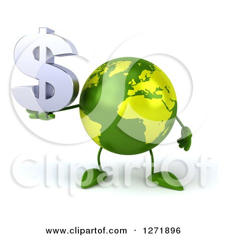 Clipart of a 3d Green Earth Character Holding a Dollar Symbol - Royalty Free Illustration by Julos