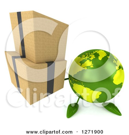 Clipart of a 3d Green Earth Character Holding up Boxes - Royalty Free Illustration by Julos
