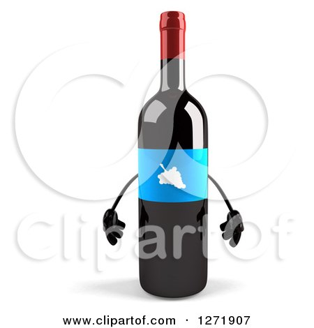 Clipart of a 3d Wine Bottle Mascot with a Blue Grape Label - Royalty Free Illustration by Julos