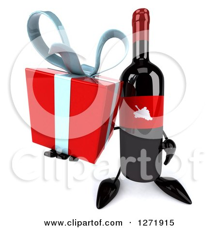 Clipart of a 3d Wine Bottle Mascot with a Red Grape Label, Holding up a Gift - Royalty Free Illustration by Julos