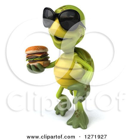 Clipart of a 3d Tortoise Wearing Sunglasses, Facing Left and Walking with a Double Cheeseburger - Royalty Free Illustration by Julos