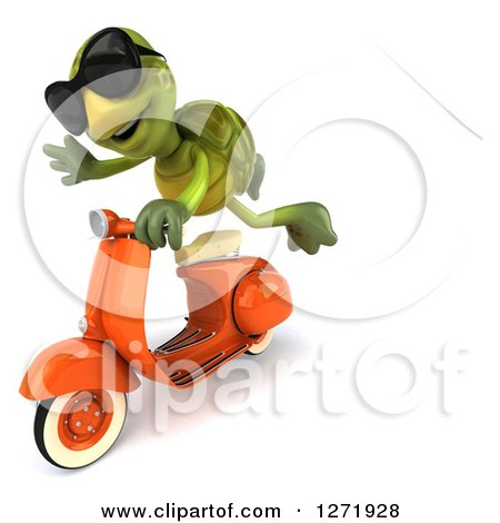 Clipart of a 3d Tortoise Wearing Sunglasse and Flying by on a Scooter - Royalty Free Illustration by Julos