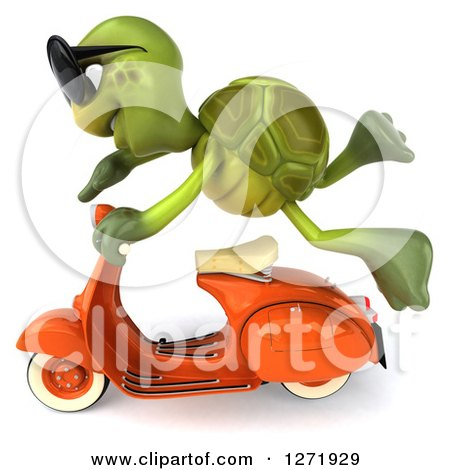 Clipart of a 3d Tortoise Wearing Sunglasse and Flying by on a Scooter 2 - Royalty Free Illustration by Julos