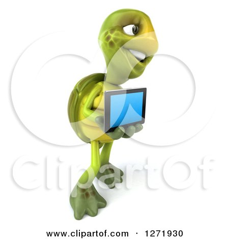 Clipart of a 3d Tortoise Facing Right and Holding a Tablet Computer - Royalty Free Illustration by Julos
