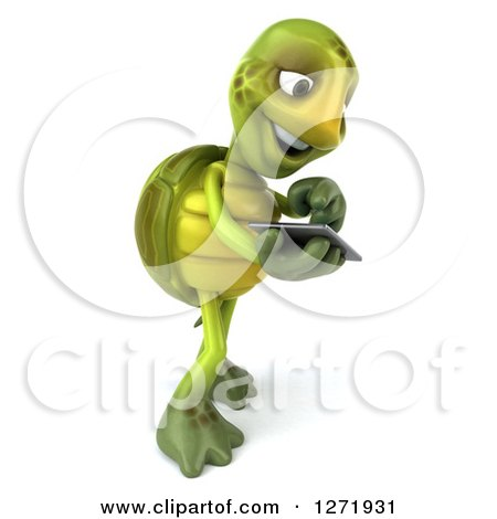 Clipart of a 3d Tortoise Facing Right and Using a Tablet Computer - Royalty Free Illustration by Julos