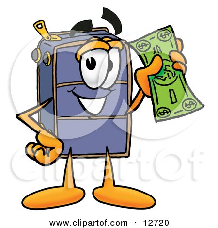Clipart Picture of a Suitcase Cartoon Character Holding a Dollar Bill by Toons4Biz
