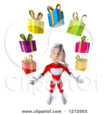 Clipart of a 3d Young White Male Super Hero Santa Looking up and Juggling Christmas Gifts - Royalty Free Illustration by Julos