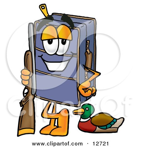 Clipart Picture of a Suitcase Cartoon Character Duck Hunting, Standing With a Rifle and Duck by Toons4Biz
