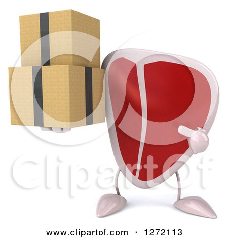 Clipart of a 3d Beef Steak Mascot Holding and Pointing to Boxes - Royalty Free Illustration by Julos