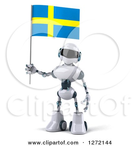 Clipart of a 3d White and Blue Robot Standing and Holding a Swedish Flag - Royalty Free Illustration by Julos